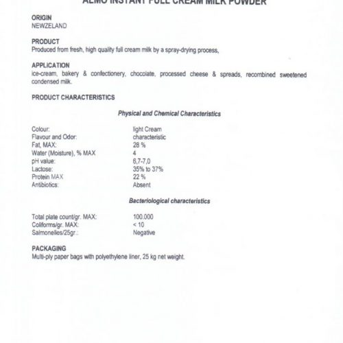 Milk Powder Datasheet
